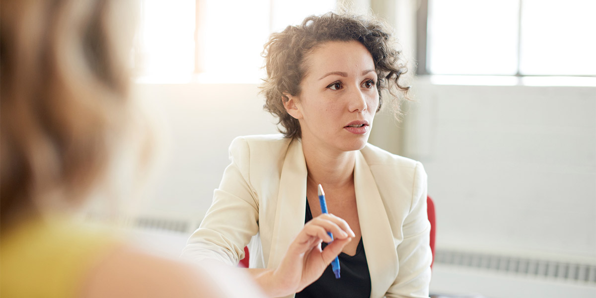 business woman in conversation